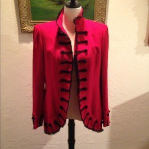 Mio Zelda General red & black blazer coat L 14